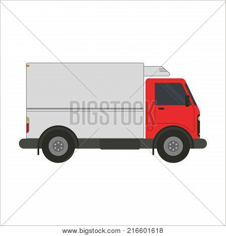 Refrigerator truck vector flat illustration. Trucking and delivery car side view. Red truck car with refrigerator body isolated on white background. Truck for transportation with cooler.