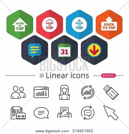 Calendar, Speech bubble and Download signs. Back to top icons. Scroll up with arrow sign symbols. Chat, Report graph line icons. More linear signs. Editable stroke. Vector