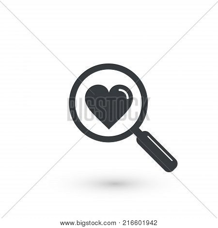 Search heart love icon vector magnifier and heart illustration.