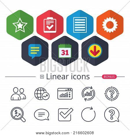 Calendar, Speech bubble and Download signs. Star favorite and menu list icons. Checklist and cogwheel gear sign symbols. Chat, Report graph line icons. More linear signs. Editable stroke. Vector
