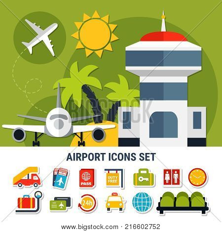 Air travel flat banner with airport traffic control tower and passengers service symbols icons set vector illustration