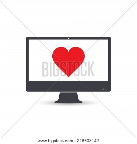 Personal computer pc with heart sign vector.