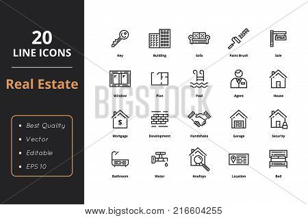20 High quality real estate line icons. For web and user interfaces