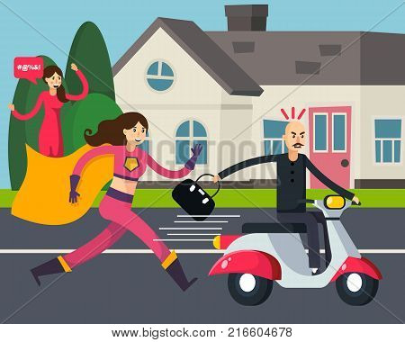 Superhero orthogonal composition with running woman in cloak and thief with stolen bag on scooter vector illustration