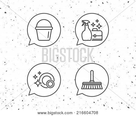 Speech bubbles with signs. Cleaning, Clean dishes and Housekeeping service line icons. Bucket, Mop and Maid equipment signs. Grunge background. Editable stroke. Vector