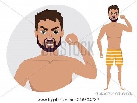Angry men. Negative Emotions. Bad Days. Bad Mood. Stressful men. Men in a beach swimming trunks