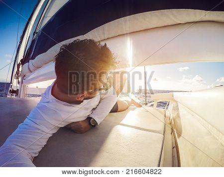 Holiday Selfie On Sailing Yacht Catamaran