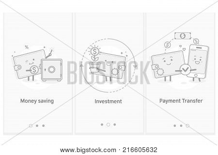 Money and mobile transfer. Financial investments. Saving money. Modern interface UX UI GUI screen template for smart phone or web site banners.Line art vector illustration