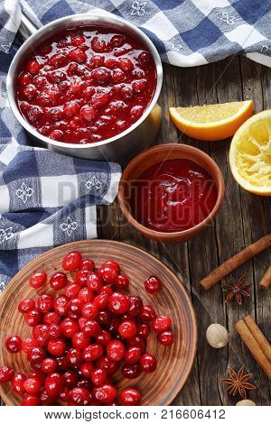 Cranberry Sauce In Saucepan And Ingredients