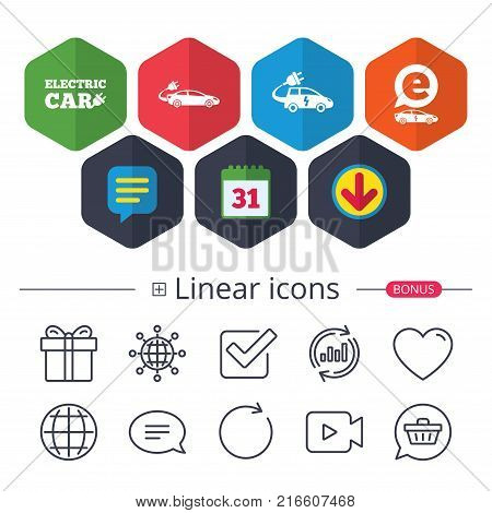 Calendar, Speech bubble and Download signs. Electric car icons. Sedan and Hatchback transport symbols. Eco fuel vehicles signs. Chat, Report graph line icons. More linear signs. Editable stroke