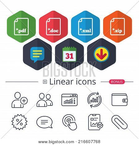 Calendar, Speech bubble and Download signs. Download document icons. File extensions symbols. PDF, ZIP zipped, XML and DOC signs. Chat, Report graph line icons. More linear signs. Editable stroke