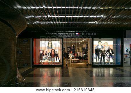 Petersburg, Russia - July 1, 2017: Shopping Entertainment Center Piter Park. Clothing Store Mango.