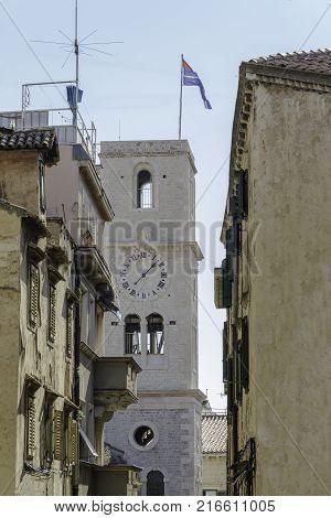 tower bell Catholic church of St. Ivan Sibenik Croatia
