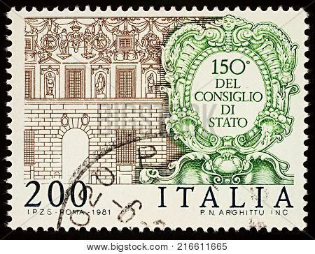 Moscow Russia - December 04 2017: A stamp printed in Italy shows Spada Palace in Rome issued for the 150th Anniversary of the State Council circa 1981