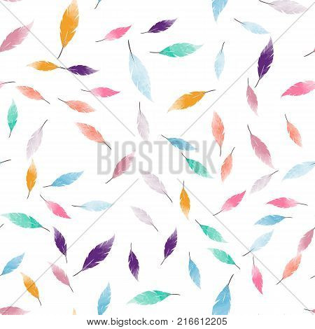 Abstract seamless pattern with colorful feathers.  Colorful  animalistic seamless background for fabric, textile, covers, manufacturing, wallpapers, print, gift wrap and scrapbooking.