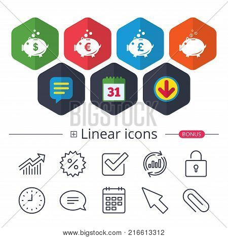 Calendar, Speech bubble and Download signs. Piggy bank icons. Dollar, Euro and Pound moneybox signs. Cash coin money symbols. Chat, Report graph line icons. More linear signs. Editable stroke. Vector