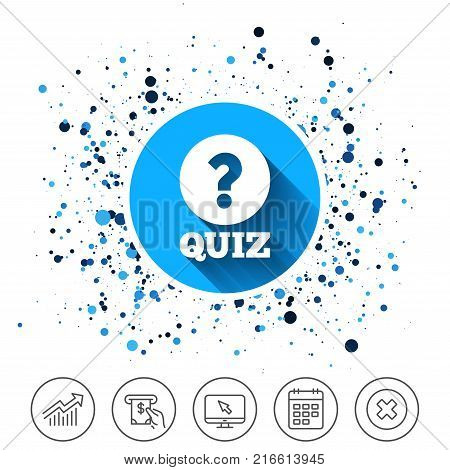 Button on circles background. Quiz with question mark sign icon. Questions and answers game symbol. Calendar line icon. And more line signs. Random circles. Editable stroke. Vector