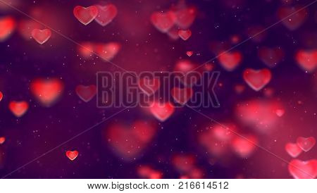 Abstract Christmas Gradient Red And Purple Gradient Background With Bokeh Glitter And Red Hearts Sha