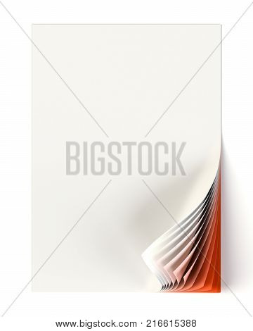 Blank document mock up with red monochrome curled corner. Graphic design element. Business corporate identity, advertisement, web page, poster with turning corner, colors and shadow. 3D illustration