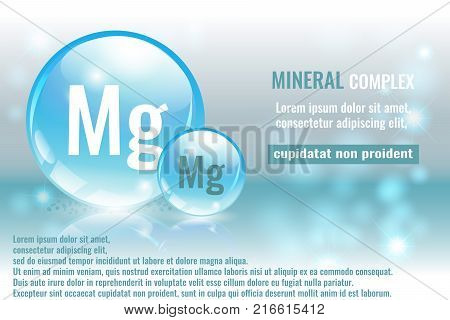 Mineral mg Magnesium complex with chemical element symbol. Pharmaceutic medical background with space for text.