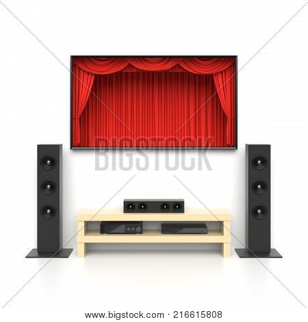Home cinema set with large lcd tv panel with theater curtains, music speakers, video disc player. Movie presentation, blockbuster, revealing new tv show, sale advertisement concept. 3D illustration
