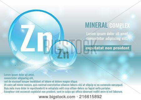 Mineral zn Zincum complex with chemical element symbol. Pharmaceutic medical background with space for text.