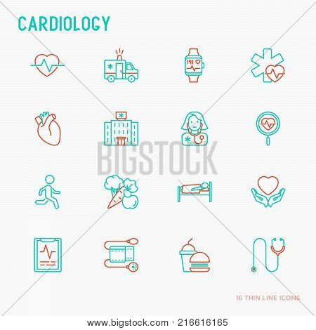 Cardiology thin line icons set: cardiologist, stethoscope, hospital, pulsometer, cardiogram, heartbeat. Modern vector illustration.