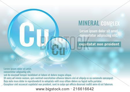 Mineral cu Cuprum complex with chemical element symbol. Pharmaceutic medical background with space for text.
