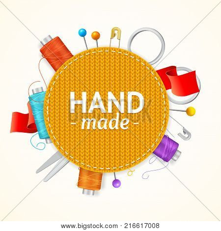 Realistic 3d Hand Made Knitted Concept Poster Emblem Round Shape for Creative Workshop, Hobby or Business. Vector illustration