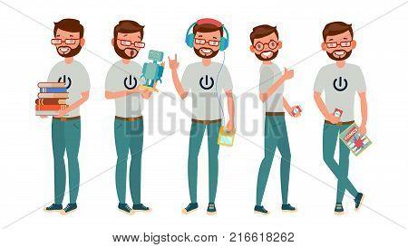 Classic Geek Man Vector. Funny Modern Geek. Sleuthing, Disguising. Flat Cartoon Illustration