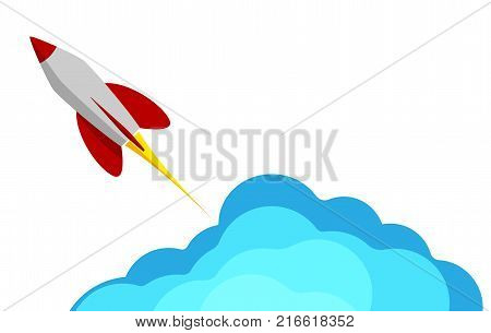 A rocket flying into space. Starting or starting an important project. The startup. Procurement for presentation