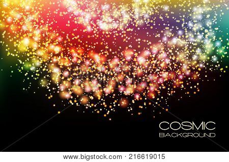 Vector fantasy cosmic galaxy background. Space nebula and cosmos stars outer space background with milky way style spiral galaxy. Starry colorful sky