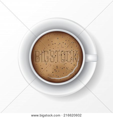 White mug of coffee with saucer coffee foam and bubbles. Top view realistic vector. Isolated on white