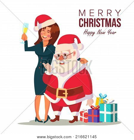 Drunk Woman And Funny Santa Claus Vector. Corporate Christmas Party At Restaurant Or Office. Meet Up Business Party. Celebrating Concept. Isolated Illustration
