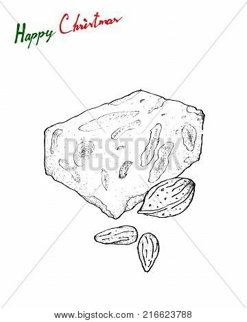Illustration Hand Drawn Sketch of Traditional Torrone or Nougat Made of Honey, Sugar and Egg White with Toasted Almonds or Other Nuts Served During The Christmas Season in Spain and Latin America.