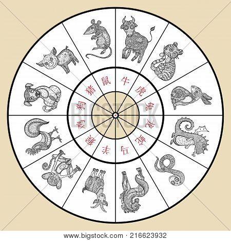 ec9fb71cc Chinese zodiac. Set of zodiac signs. Hand drawn illustration, cartoon  style. Vector