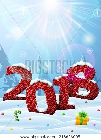 New Year 2018 in shape of knitted fabric in snow. Winter landscape with year number top lighting. Best vector image for new years day christmas winter holiday knitting new years eve silvester