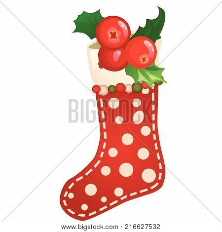 Hanging colored sock textured polka dot with berry of holly, ilex isolated on white background. Sketch of Christmas festive poster, party invitation, holiday card. Vector cartoon close-up illustration