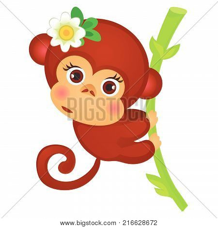 Cute little monkey on a stalk of bamboo isolated on a white background. Exotic animals. Sketch of festive poster, party invitation, other card. Vector cartoon close-up illustration.