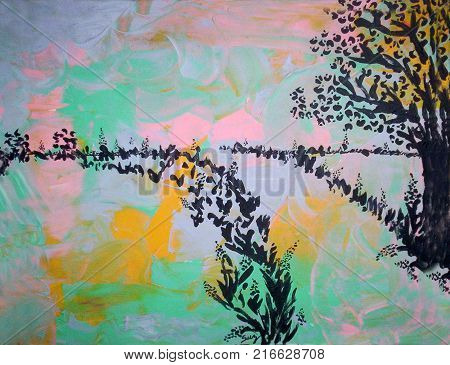 Acrylic painting on canvas of tree and road silhouette on an abstract background