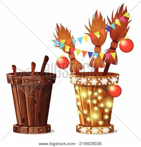The mortar Baba Yaga and broom with Christmas decorations isolated on white background. Sketch of Christmas festive poster, party invitation, other holiday card. Vector cartoon close-up illustration.