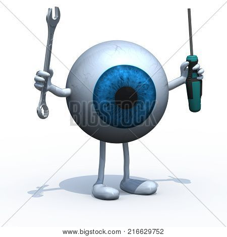 big blue eyeball with arms, legs and tools on hands, 3d illustration