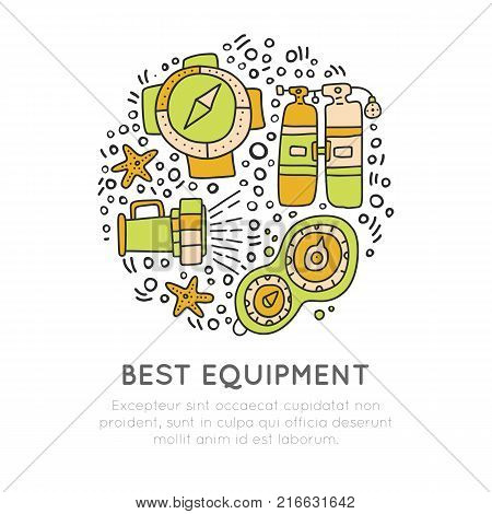 Diving equipment hand draw icons. Underwater activity vector icons. Scuba-diving elements and summer concept - dive line doodle icons in round form. Marine symbols. Scuba diving and underwater objects, isolated on white background