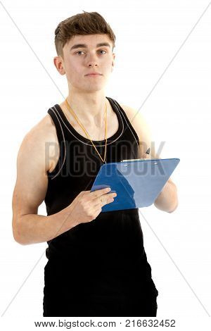 Teenage personal trainer writing on a clipboard isolated on a white background