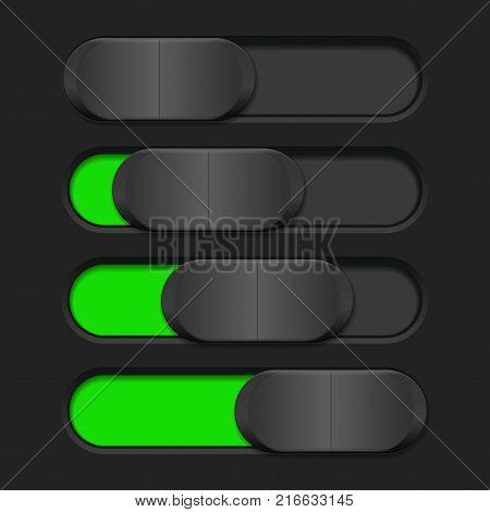 User interface slider. Green and black control bar. Vector illustration