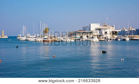 Panoramic view of port in Bari the capital city of Apulia region in southern Italy