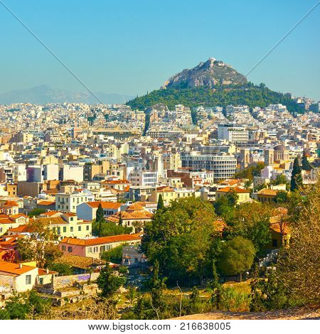 Cityscape - Panoramic view of Athens with Mount Lycabettus, Greece