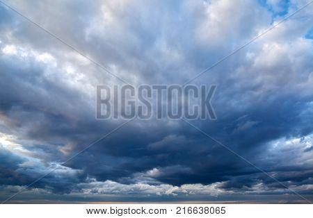 Stormy dramatic north sky with clouds, may be used as background