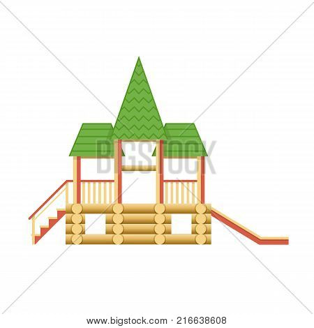 Kids games. Children entertainment complex wooden structure in form of tower with stairs and slides, attractions, recreation park. Place for children's games. Amusement park. Vector flat illustration.