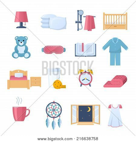 Set of objects for sleep. Time to sleep. Lighting, bedding, furniture and interior, accessories, drinks and food, clothing, book, furniture, sleeping mask bathroom Vector flat illustration